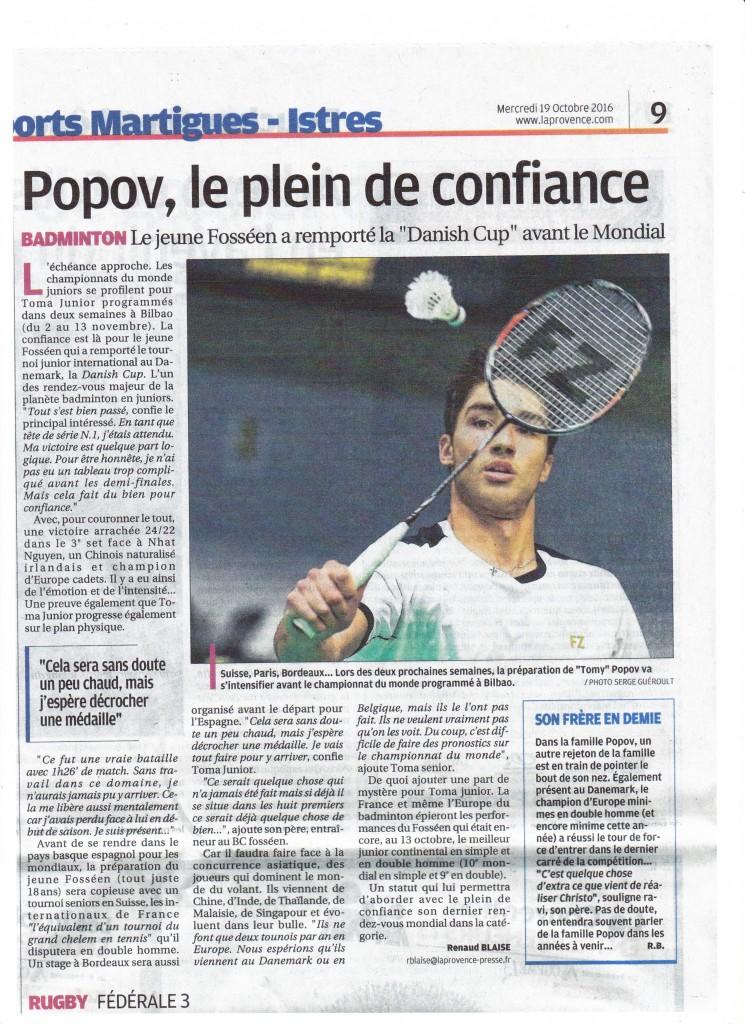 (Voir article de Presse -La Provence - Mercredi 19 octobre 2016)